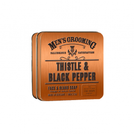 Scottish Fine Soaps veido ir barzdos muilas dėžutėje Thistle and Black Pepper 100 g