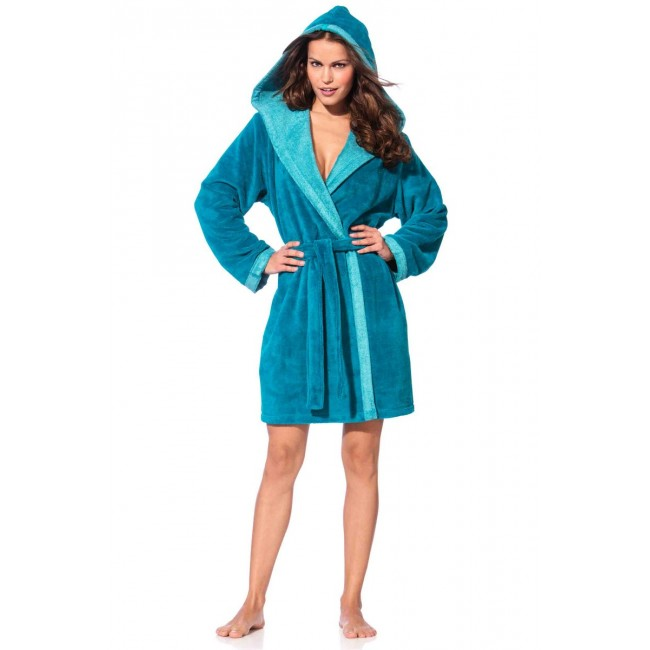Morgenstern moteriškas chalatas trumpas su kapišonu turkio spalvos