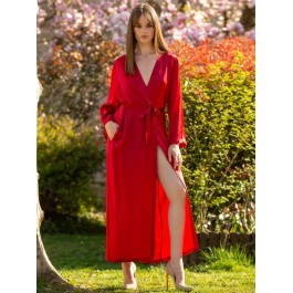 Marjolaine ilgas raudonas šilkinis chalatas