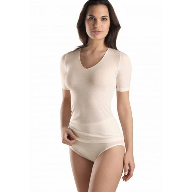 Hanro merino vilnos-šilko apatiniai marškinėliai šviesūs trumpomis rankovėmis