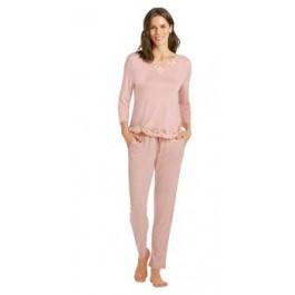 Hanro moteriška pižama pusilgėmis rankovėmis rožinė