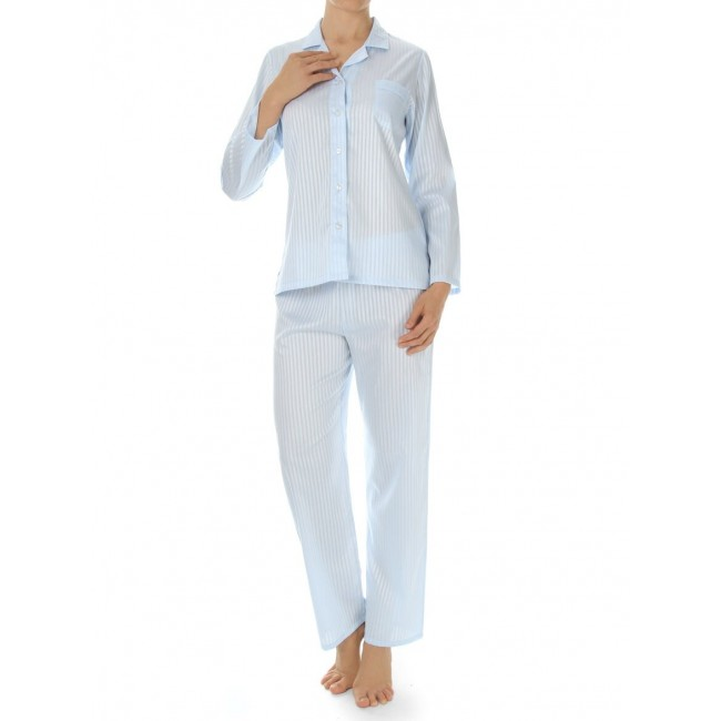 Novila klasikinio kirpimo satininė pižama žydra