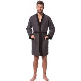 Morgenstern vyriškas chalatas lengvas kimono kirpimo trumpas pilkas