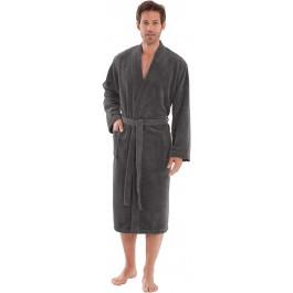 Morgenstern vyriškas chalatas kimono kirpimo pilkas