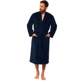 Morgenstern vyriškas chalatas kimono kirpimo tamsiai mėlynas