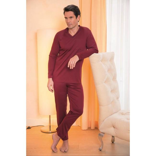 Novila vyriška pižama vienspalvė burgundo spalvos