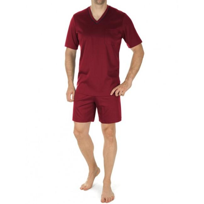 Novila vyriška pižama su šortais vyno spalvos