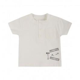 Fixoni marškinėliai vyrukui švelniai kreminiai trumpomis rankovėmis