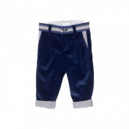John Twig puošnios tamsiai mėlynos velvetinės kelnytės