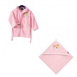 RINKINYS- Morgenstern chalatas ir rankšluostis su gobtuvu rožinis