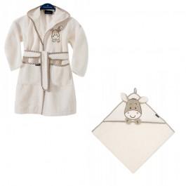 RINKINYS- Morgenstern chalatas ir rankšluostis su gobtuvu kreminis