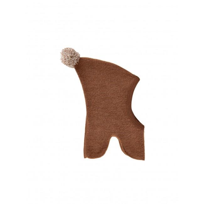 Celavi merino vilnos tamsiai rudas kepuriukas