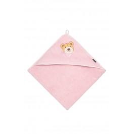 Morgenstern vaikiškas rankšluostis su gobtuvu meškiukas rožinis